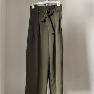 Green high waisted dress pants